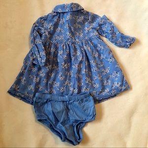 GAP Dresses - Baby Gap blue floral shirt dress w bloomer 6-12 mo